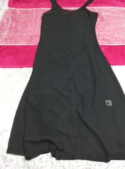 黒ブラックシフォンシースルーノースリーブマキシカーディガン羽織 Black chiffon see through sleeveless maxi cardigan_画像1