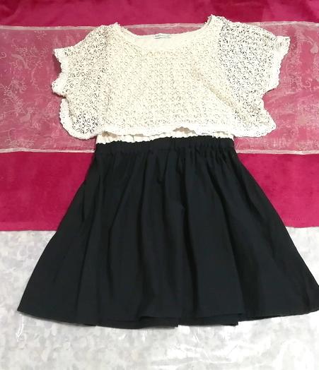 白フローラルホワイトレース黒スカート綿コットン100%チュニックワンピース Floral white lace tops black skirt cotton tunic onepiece_画像1