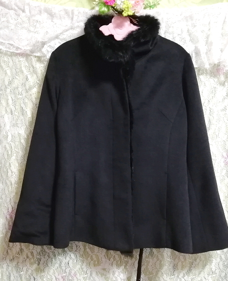 黒ブラックラビットファーショートコート羽織外套 Black rabbit fur short coat outerwear_画像5