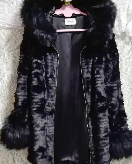 黒ブラック豪華ロングファーコート羽織外套 Black luxury long fur coat_画像7