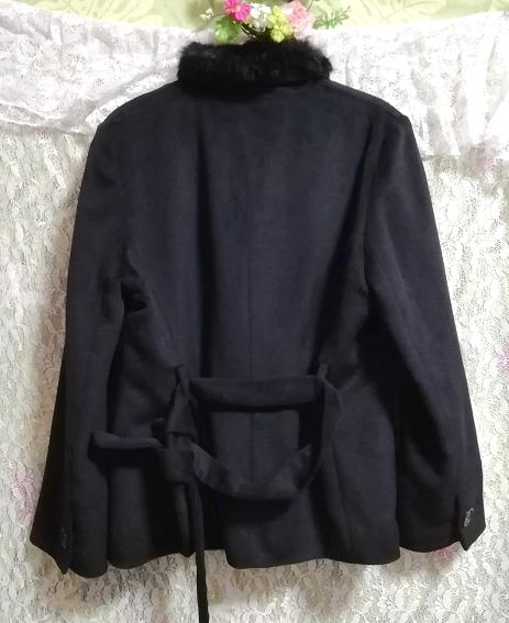 黒ブラックラビットファーショートコート羽織外套 Black rabbit fur short coat outerwear_画像6