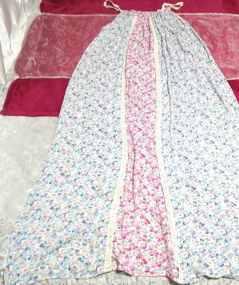 ピンク青花柄キャミソールマキシロングスカートワンピース Pink blue flower pattern camisole maxi long skirt onepiece