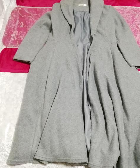 灰グレーロングカーディガンコート羽織外套 Gray long cardigan coat outerwear_画像4