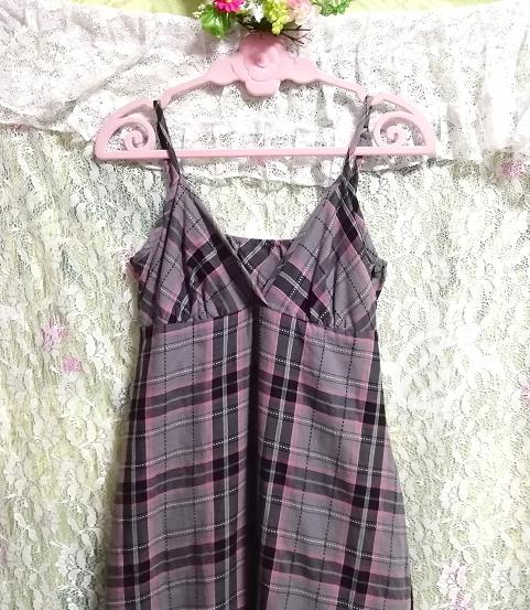 灰黒ピンクチェック柄綿コットン100%キャミソールマキシスカートワンピース Gray black pink plaid cotton camisole maxi skirt onepiece_画像5