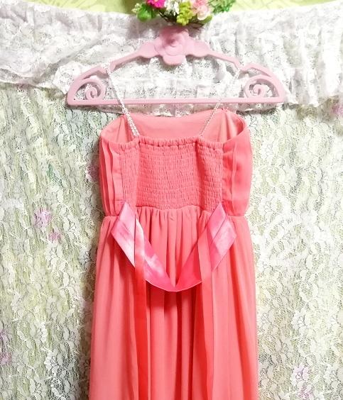 サーモンピンクお花付ネグリジェキャミソールシフォンマキシワンピースドレス Salmon pink negligee camisole chiffon skirt maxi dress_画像7