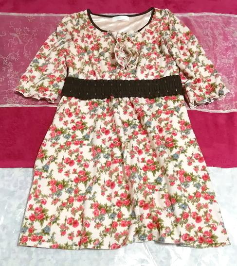 ピンク花柄フリル襟長袖帯チュニックワンピース Pink floral pattern ruffle collar long sleeve belt tunic onepiece_画像1