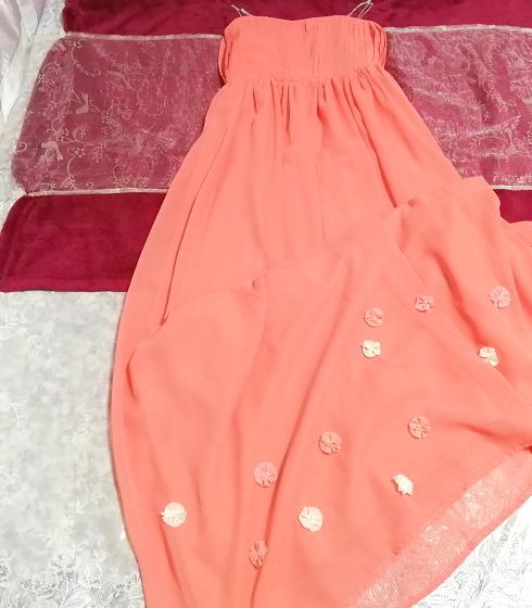 サーモンピンクお花付ネグリジェキャミソールシフォンマキシワンピースドレス Salmon pink negligee camisole chiffon skirt maxi dress_画像2