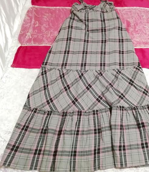 灰黒ピンクチェック柄綿コットン100%キャミソールマキシスカートワンピース Gray black pink plaid cotton camisole maxi skirt onepiece_画像1