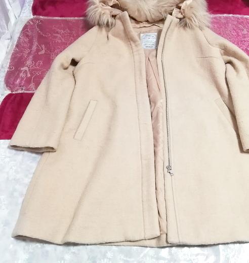 ピンクベージュフワフワファーフードコート羽織外套 Pink beige fluffy food coat_画像1