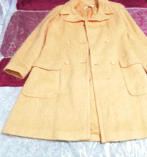 日本製オレンジ毛カーディガンコート羽織外套 Made in Japan orange hair cardigan coat_画像5