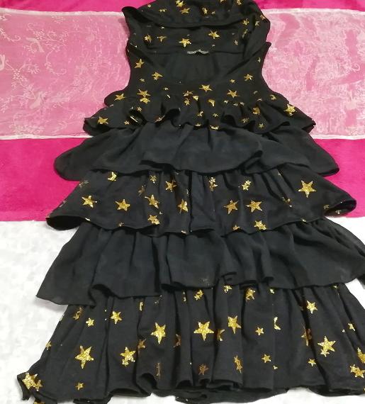 黒ブラックハロウィン星柄3段フリルスカートチュニックワンピース Black halloween star pattern three steps ruffle skirt tunic onepiece_画像2
