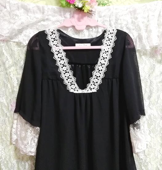 黒ブラックシフォン白レース長袖チュニックトップス Black chiffon white lace long sleeve tunic tops_画像5