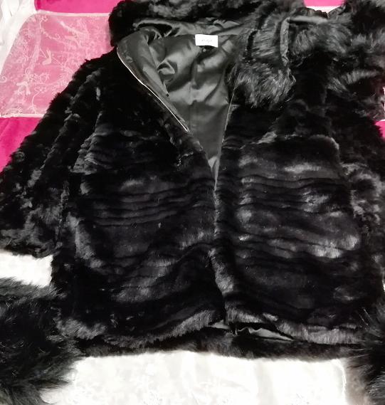 黒ブラック豪華ロングファーコート羽織外套 Black luxury long fur coat_画像3