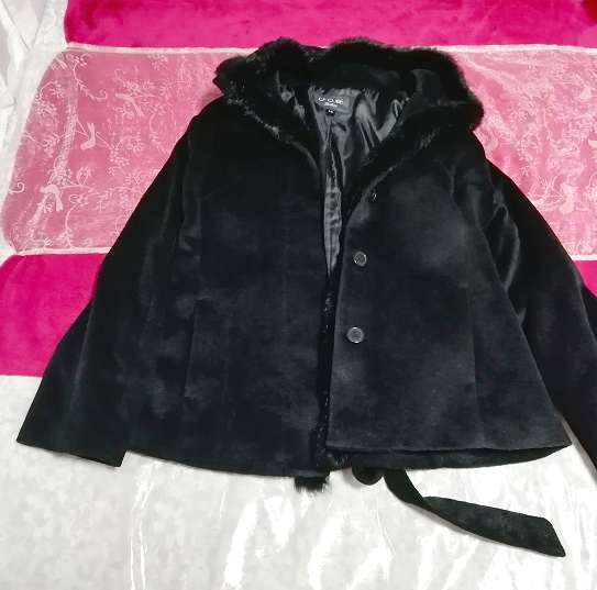 黒ブラックラビットファーショートコート羽織外套 Black rabbit fur short coat outerwear_画像1