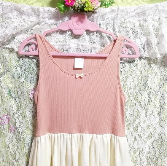 ピンクトップス白チュールスカートノースリーブワンピース Pink tops white tulle skirt sleeveless onepiece_画像3