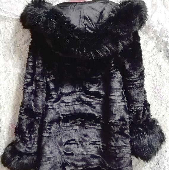 黒ブラック豪華ロングファーコート羽織外套 Black luxury long fur coat_画像8