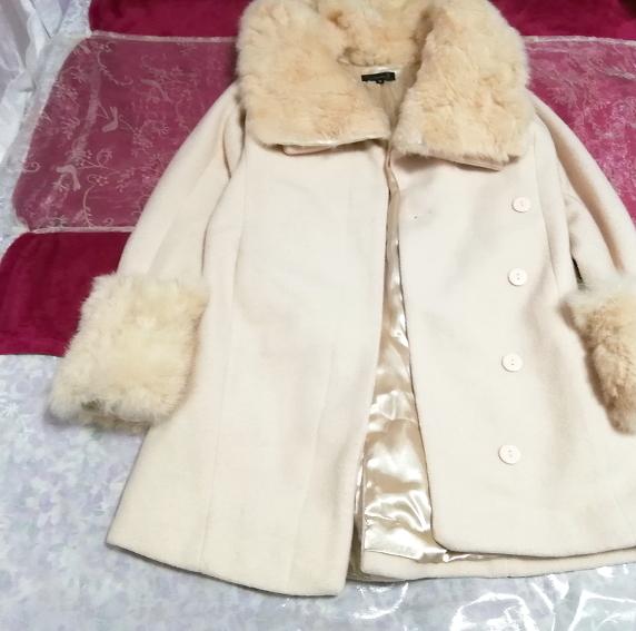 桜ピンクラビットファーロングコート羽織外套 Sakura pink rabbit fur long coat_画像4