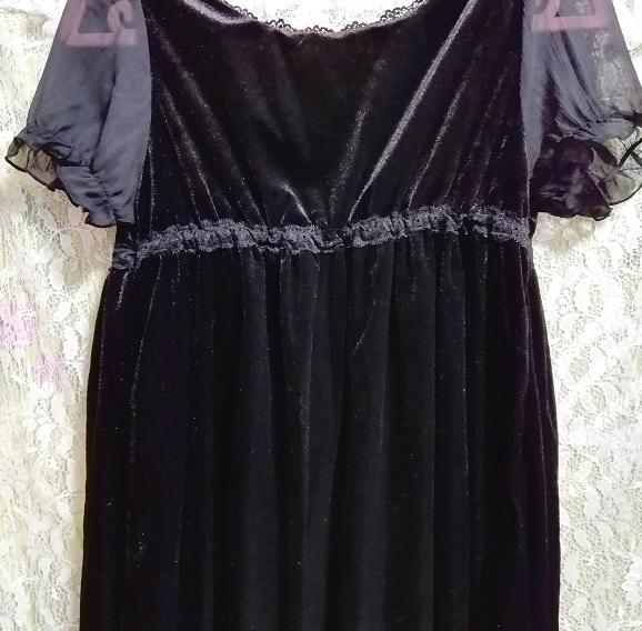 黒ブラックベロアレース半袖チュニックワンピース Black velour lace short sleeve tunic onepiece_画像5
