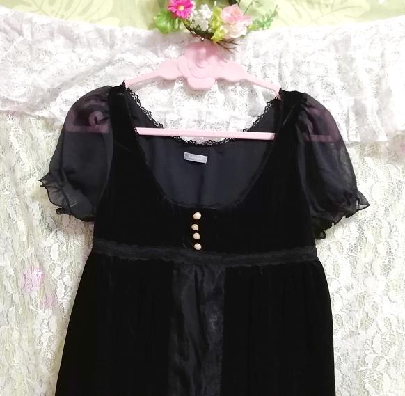 黒ブラックベロアレース半袖チュニックワンピース Black velour lace short sleeve tunic onepiece_画像4
