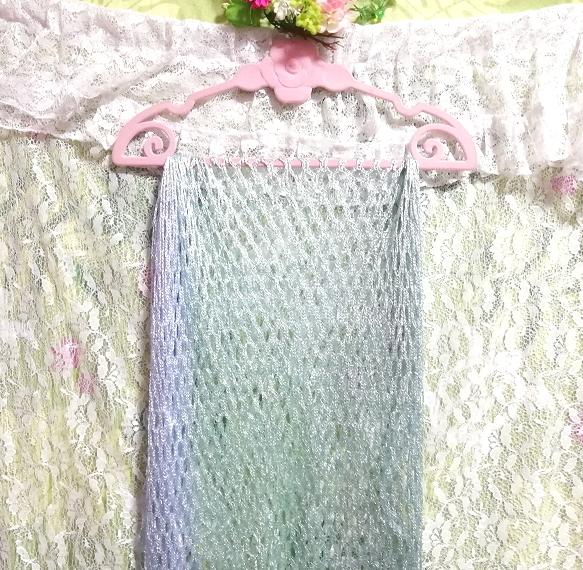 エメラルド青と緑グラデーション編み大判フリンジストール Emerald blue and green gradient color knit fringe stole_画像4