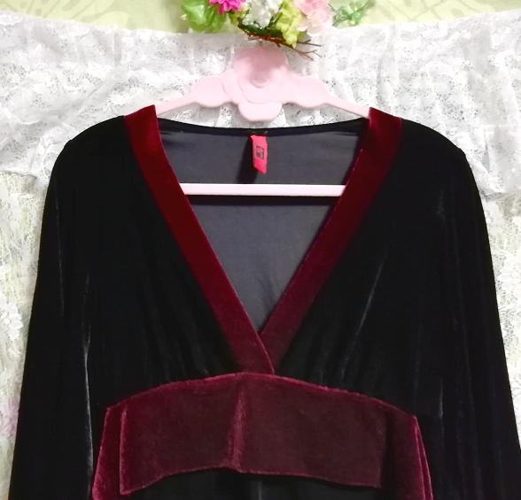 アメリカUSA製黒ブラックベロア着物風長袖チュニックトップス Black velour kimono style long sleeve tunic tops_画像3