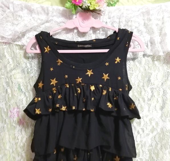 黒ブラックハロウィン星柄3段フリルスカートチュニックワンピース Black halloween star pattern three steps ruffle skirt tunic onepiece_画像5