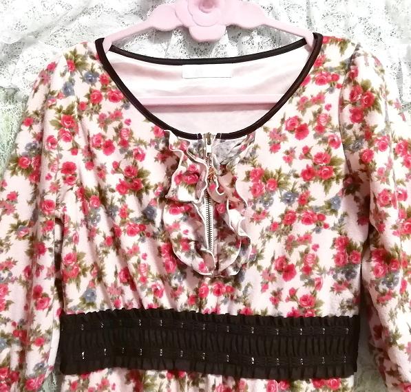 ピンク花柄フリル襟長袖帯チュニックワンピース Pink floral pattern ruffle collar long sleeve belt tunic onepiece_画像6