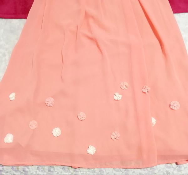 サーモンピンクお花付ネグリジェキャミソールシフォンマキシワンピースドレス Salmon pink negligee camisole chiffon skirt maxi dress_画像3