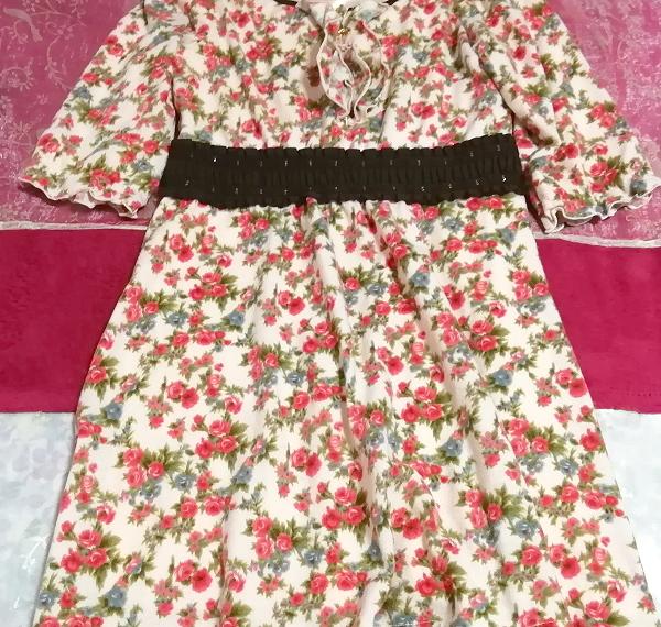 ピンク花柄フリル襟長袖帯チュニックワンピース Pink floral pattern ruffle collar long sleeve belt tunic onepiece_画像2