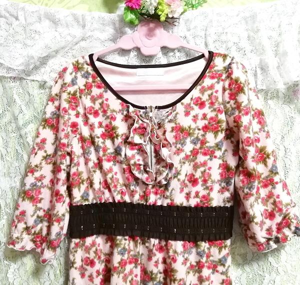 ピンク花柄フリル襟長袖帯チュニックワンピース Pink floral pattern ruffle collar long sleeve belt tunic onepiece_画像5