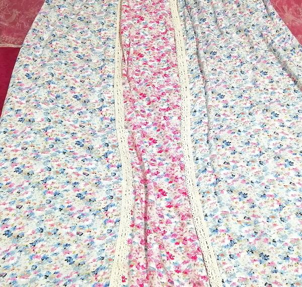 ピンク青花柄キャミソールマキシロングスカートワンピース Pink blue flower pattern camisole maxi long skirt onepiece_画像3
