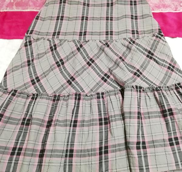 灰黒ピンクチェック柄綿コットン100%キャミソールマキシスカートワンピース Gray black pink plaid cotton camisole maxi skirt onepiece_画像2