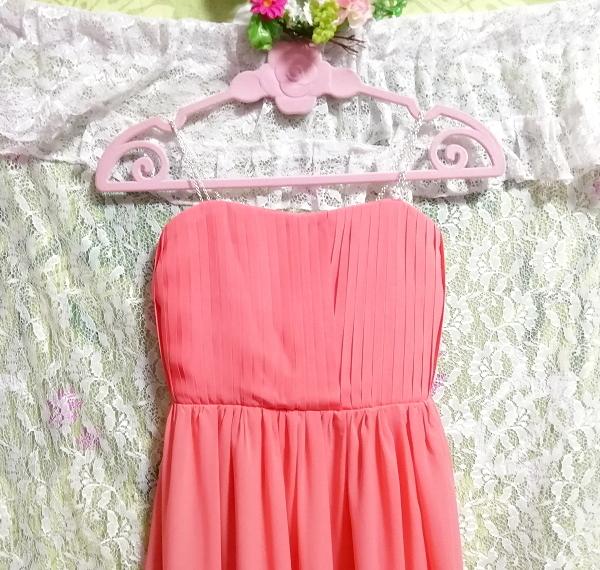 サーモンピンクお花付ネグリジェキャミソールシフォンマキシワンピースドレス Salmon pink negligee camisole chiffon skirt maxi dress_画像6