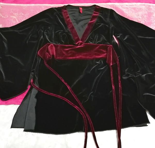 アメリカUSA製黒ブラックベロア着物風長袖チュニックトップス Black velour kimono style long sleeve tunic tops_画像1
