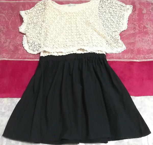 白フローラルホワイトレース黒スカート綿コットン100%チュニックワンピース Floral white lace tops black skirt cotton tunic onepiece_画像2