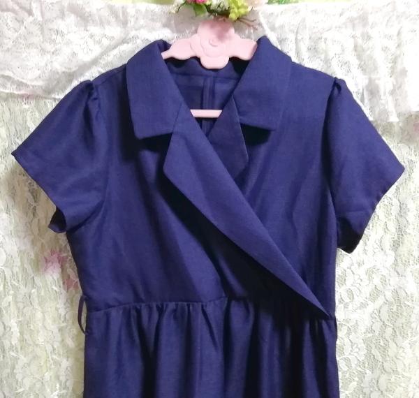 紺ネイビースーツ風半袖チュニックワンピース Navy suit style short sleeve tunic onepiece_画像5
