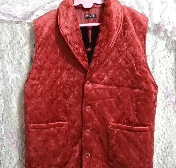 赤朱色レッド光沢豪華ベスト Scarlet red luster luxury vest_画像4