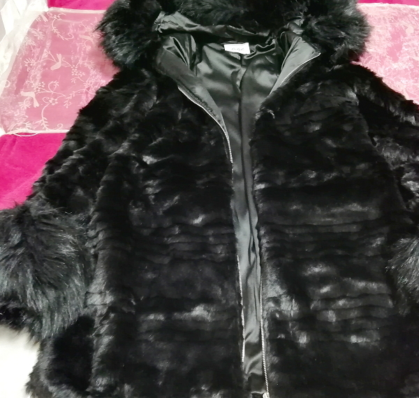 黒ブラック豪華ロングファーコート羽織外套 Black luxury long fur coat_画像2