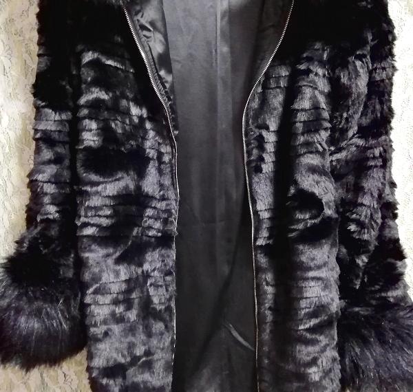 黒ブラック豪華ロングファーコート羽織外套 Black luxury long fur coat_画像9