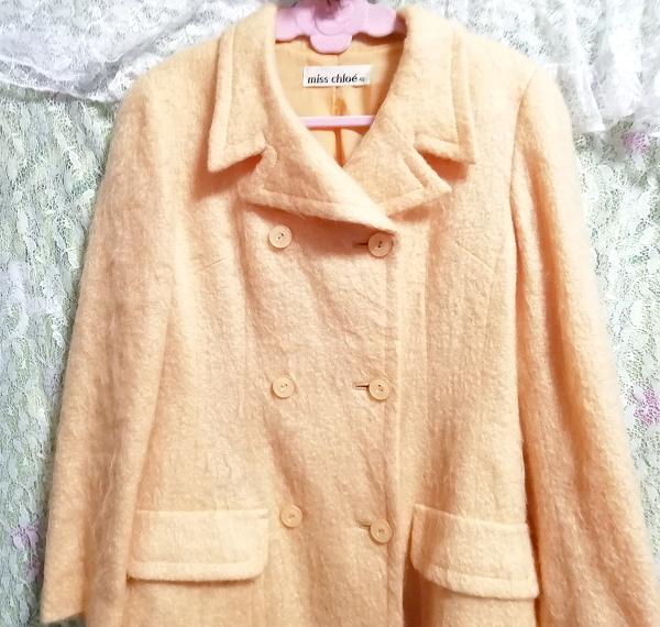 日本製オレンジ毛カーディガンコート羽織外套 Made in Japan orange hair cardigan coat_画像4
