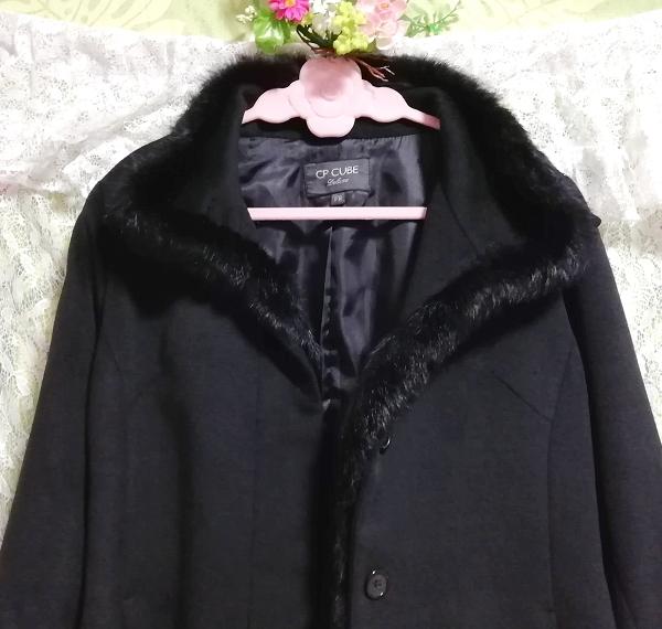 黒ブラックラビットファーショートコート羽織外套 Black rabbit fur short coat outerwear_画像7