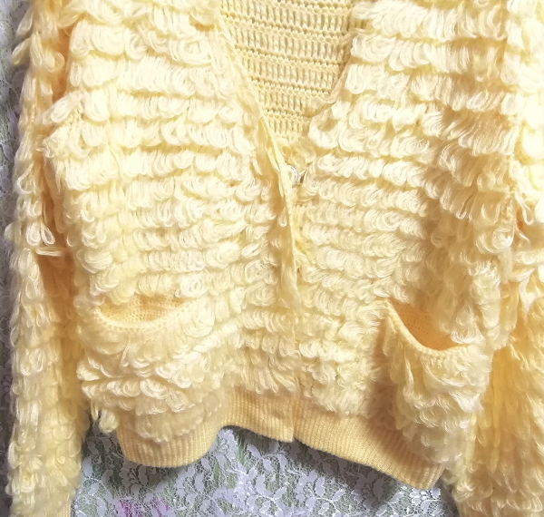 黄色ふわふわニットフリルカーディガン羽織 Yellow fluffy knit frill cardigan_画像6