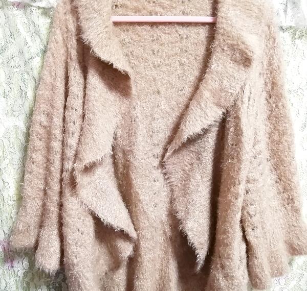亜麻色ココア色ふわふわウエーブポンチョ風カーディガン羽織 Flax cocoa color fluffy wave poncho-style cardigan_画像4