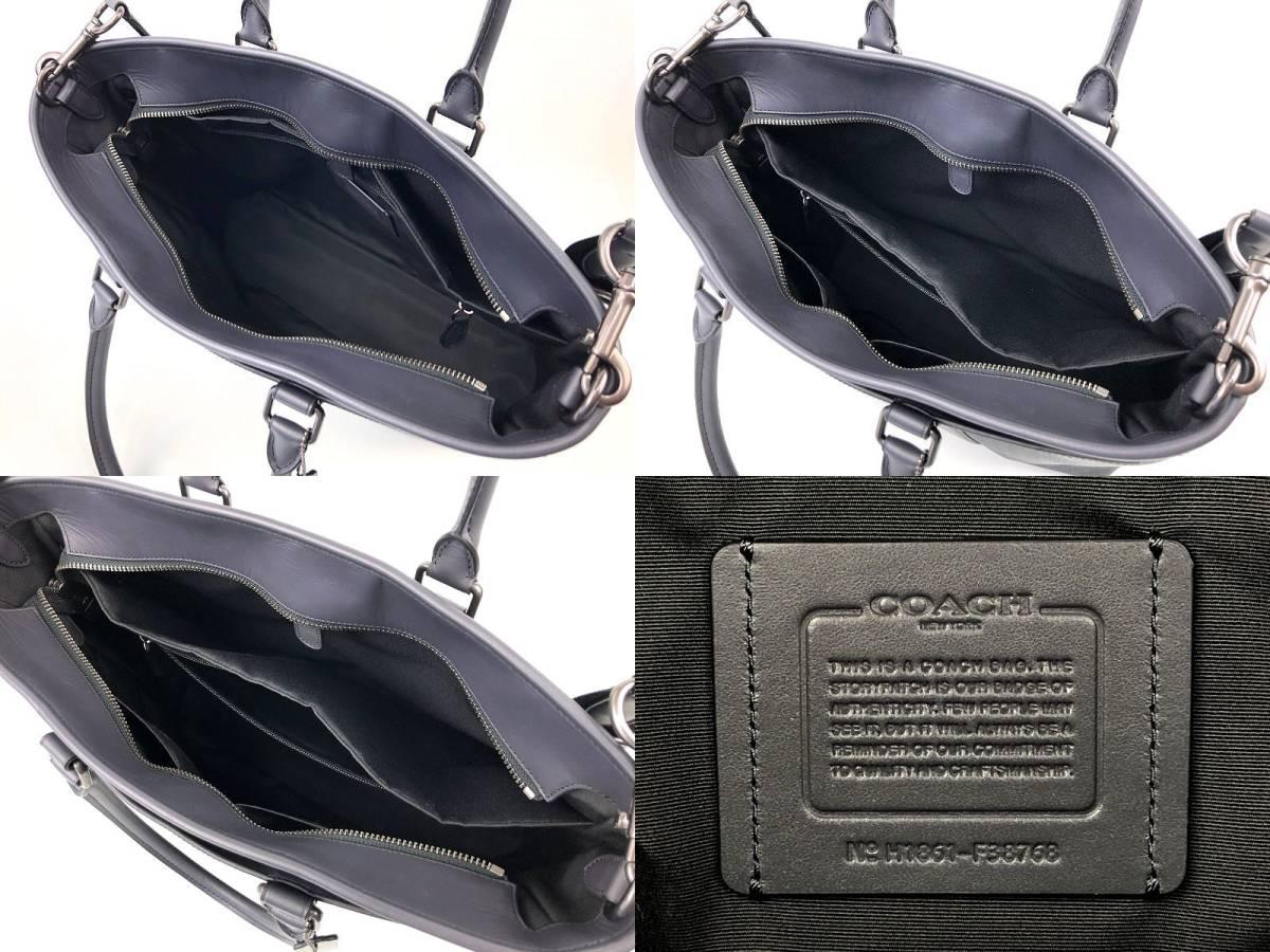 現行モデル☆COACH コーチ メンズ ツイル プラッド チェック レザー ビジネス 2way トート バッグ ◆新品◆_画像6