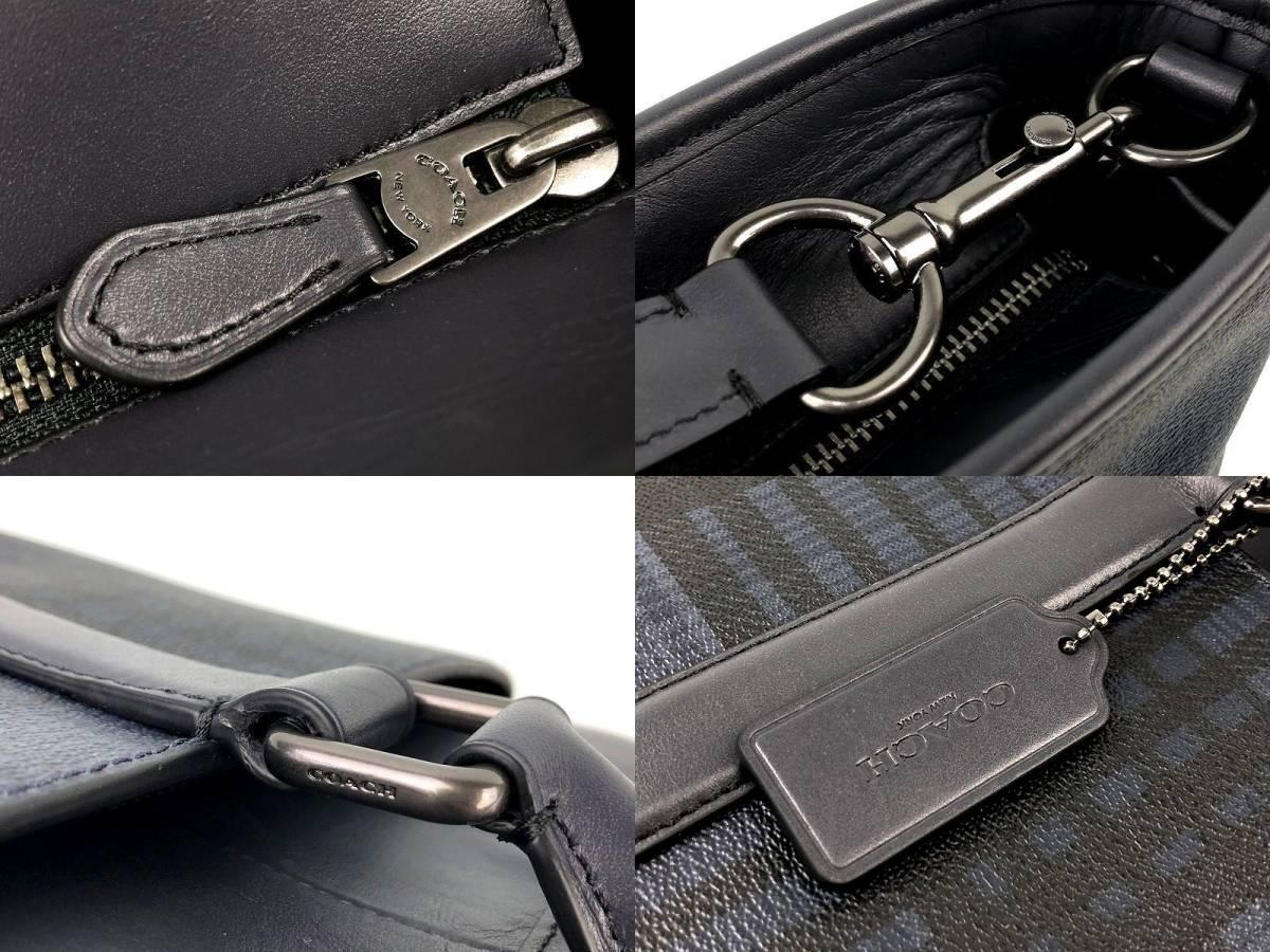 現行モデル☆COACH コーチ メンズ ツイル プラッド チェック レザー ビジネス 2way トート バッグ ◆新品◆_画像7