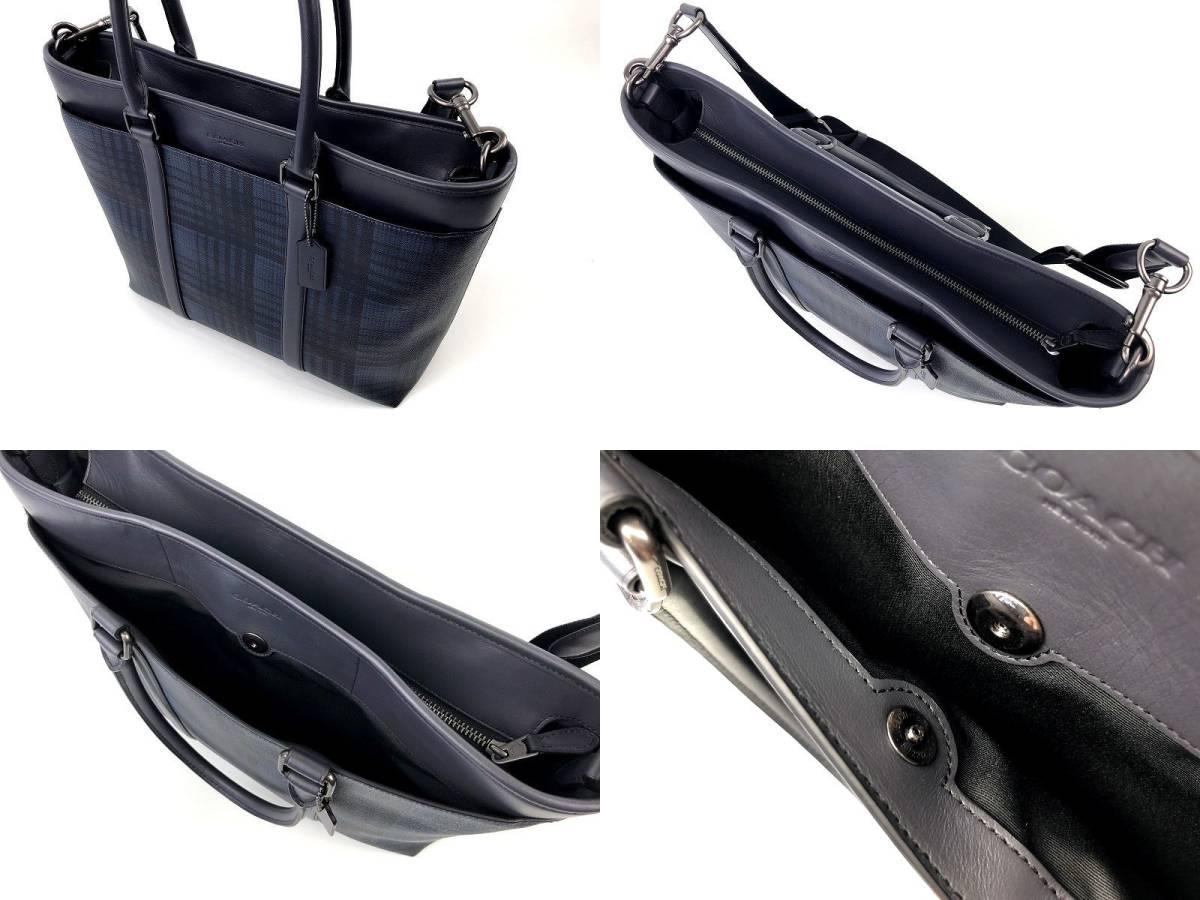 現行モデル☆COACH コーチ メンズ ツイル プラッド チェック レザー ビジネス 2way トート バッグ ◆新品◆_画像5