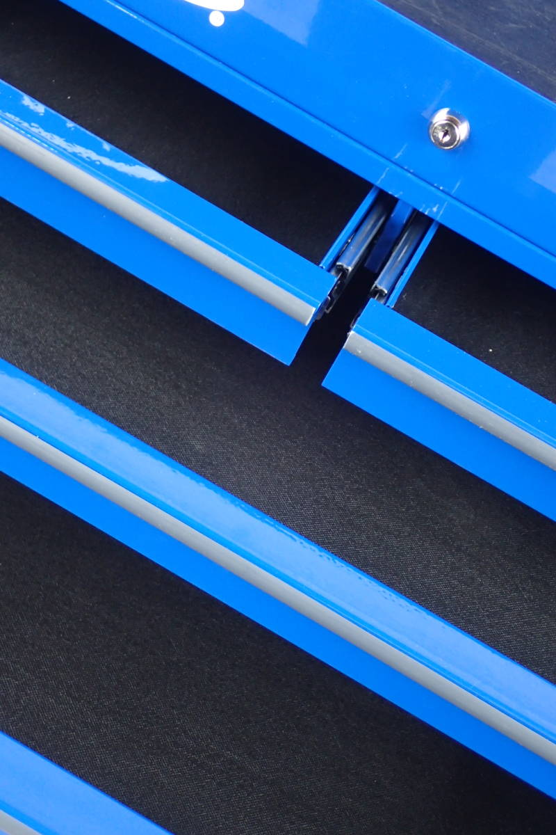 スナップオン ブルーポイント フルベアリング 4引出 サイドテーブル サイドラック 付 ブルー KRBC7TD_画像5