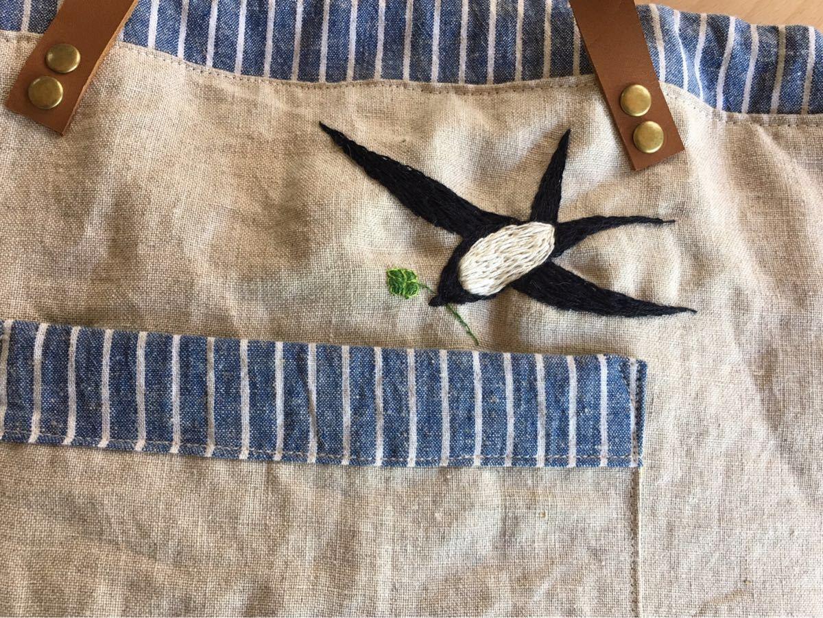 手刺繍*クローバー*シロツメクサ*リネントート*ストッパーにハハコグサ_画像6