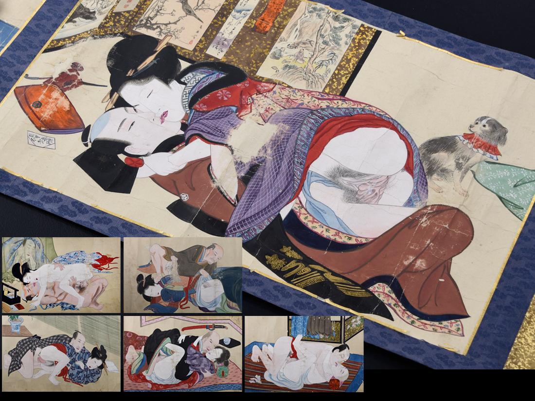 【お客様!その古美術品はここに御座います!!】0007 江戸時代 春画極細密彩色手描巻物 計6画 希少品 著名絵師の作品か!!
