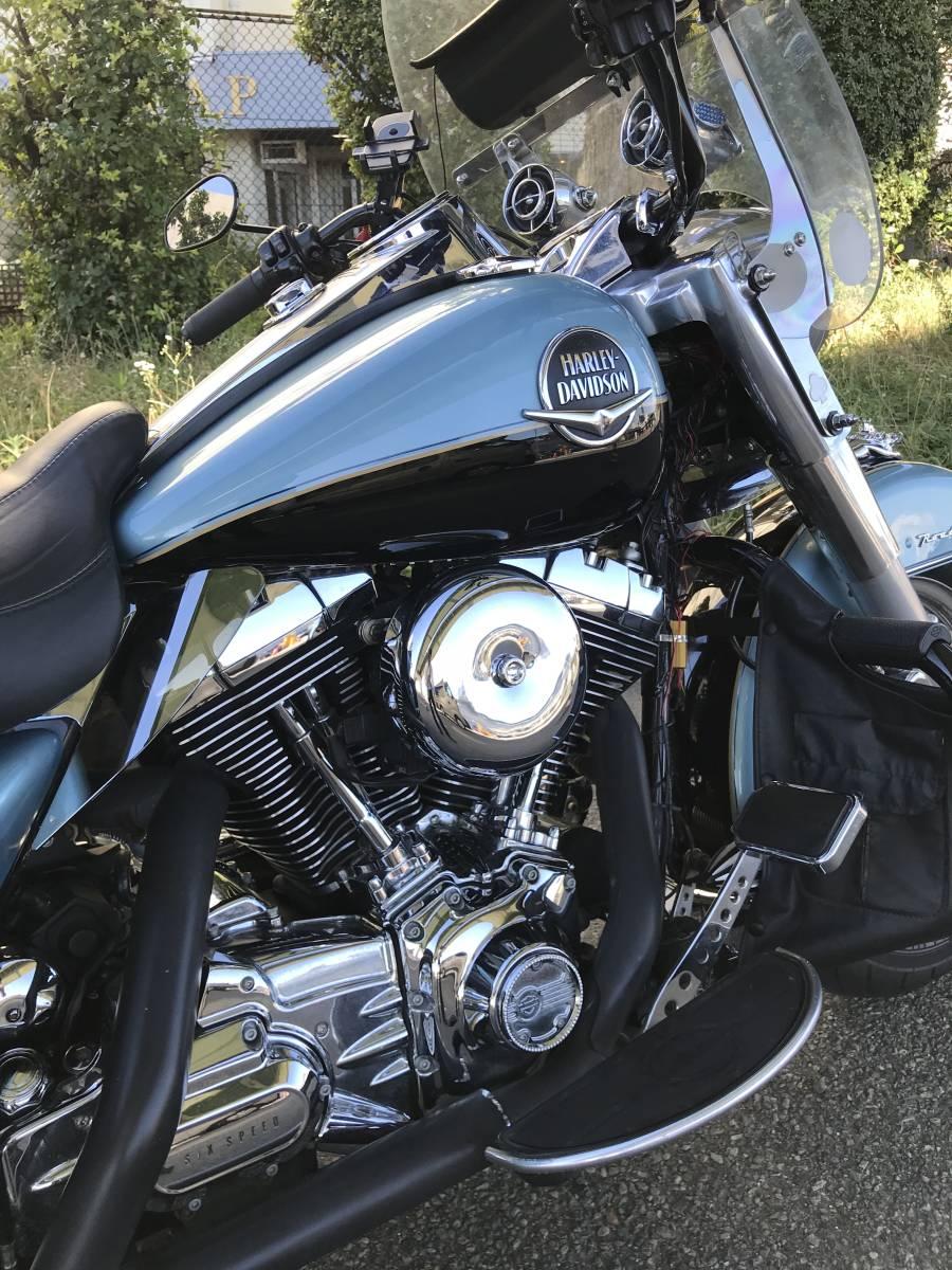 最落無し 2008年モデル ロードキング クラシック オーディオ 安心ABS 爽やかなブルー オートクルーズ機能 FLHRC 車検付 _画像2